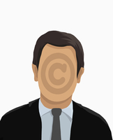 Illustrative image of businessman with copyright symbol on face against white background