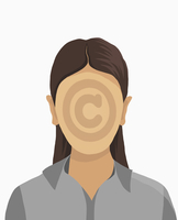 Illustrative image of businesswoman with copyright symbol on face against white background