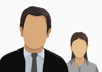 Illustrative image of business people over white background