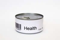 Health printed on label of tin can, white background