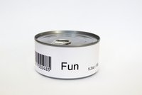 Fun printed on label of tin can, white background