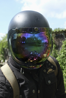 Close-up of person wearing helmet