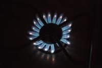 Detail shot of flames on gas burner