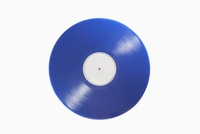 Close-up of blue record on white background