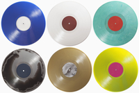 Various records arranged on white background