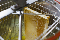 High angle view of honeycomb in machinery