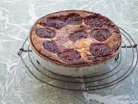 Pie on bowl on metal grate