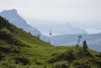 Idyllic view of Swiss Alps in foggy weather