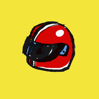 Illustration of red helmet against yellow background