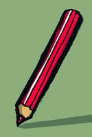 Illustration of red colored pencil against green background