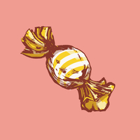 Illustration of wrapped candy against pink background