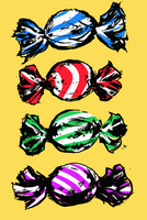 Illustration of colorful wrapped candies against yellow background