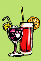Illustration of fresh cocktails against green background