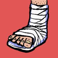 Illustration of leg with bandage against red background
