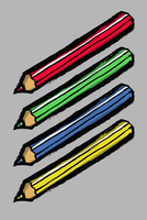 Illustration of colored pencils against gray background