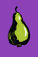 Illustration of pear against purple background