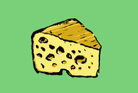 Illustration of cheese against green background