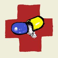 Illustration of broken capsule against the International Red Cross