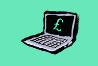 Illustration of laptop with euro sign against green background