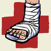 Illustration of leg with bandage and plus sign against white background