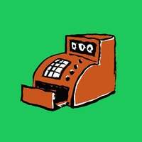Illustration of orange cash register against green background
