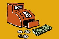 Illustration of cash register and money against yellow background