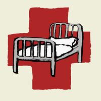 Illustration of hospital bed against International Red Cross