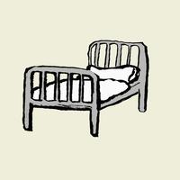 Illustration of hospital bed against white background