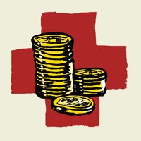 Illustration of stacked coins against International Red Cross