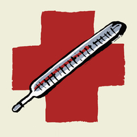 Illustrative image of thermometer against International Red Cross