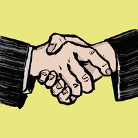 Illustration of businessmen shaking hands against yellow background