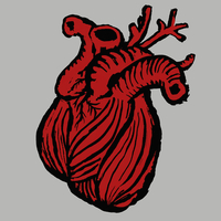 Illustrative image of heart against gray background