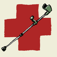 Illustrative image of crutch against International Red Cross