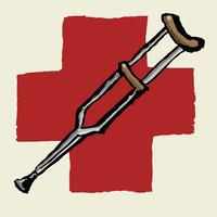 Illustrative image of crutch against International Red Cross