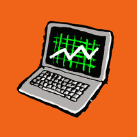 Illustration of laptop with progress graph against orange background