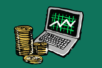 Illustration of laptop with progress graph and stacked coins against green background