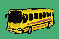 Illustration of yellow bus against green background