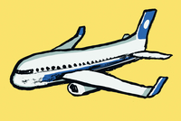 Illustration of airplane against yellow background
