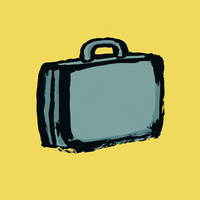 Illustration of briefcase against yellow background