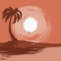 Illustration of palm tree by sea during sunset