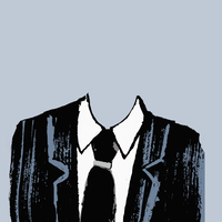 Illustration of headless businessman against gray background