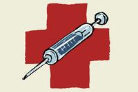 Illustrative image of syringe against international red cross