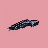 Illustrative image of handgun on pink background