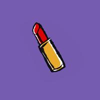 Illustration of red lipstick on purple background