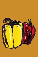 Illustration of red and yellow bell peppers against orange background