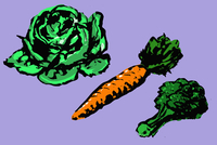 Illustrative image of vegetables arranged on purple background