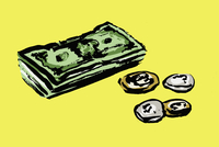 Illustration of paper notes and coins on yellow background