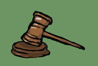 Illustration of gavel and soundblock against green background