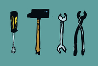 Illustration of work tools against blue background