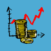 Illustration of stacked coins with upward moving graph against blue background